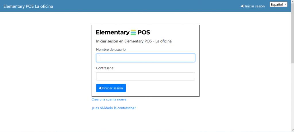 Iniciar sesión en Elementary POS